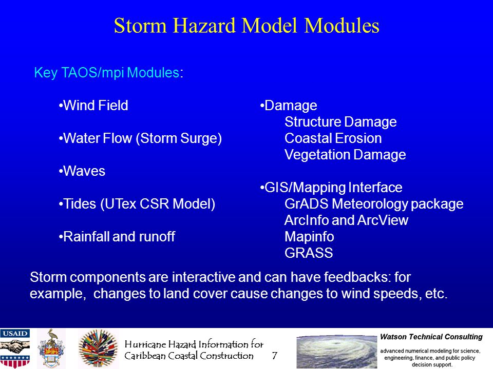 Hurricane Hazard Information for Caribbean Coastal Construction 8 Input Data Bases for Simulations Digital Elevation Model (topography and bathymetry) Allows proper flow of water to be computed for storm surge, waves, and inland flooding Land Cover/Land Use (land and underwater) Friction effects on both air and water to compute correct wind speeds and flow rates Debris generation Historical Storm Characteristics for Statistical Analysis and validation