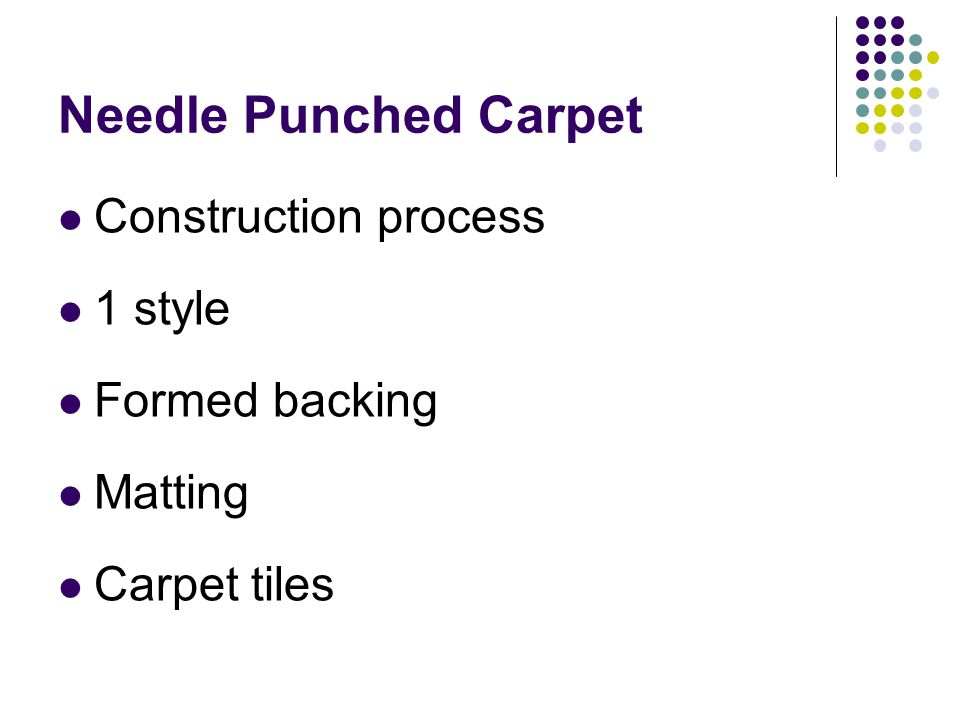 Needle Punched Carpet Construction process 1 style Formed backing Matting Carpet tiles