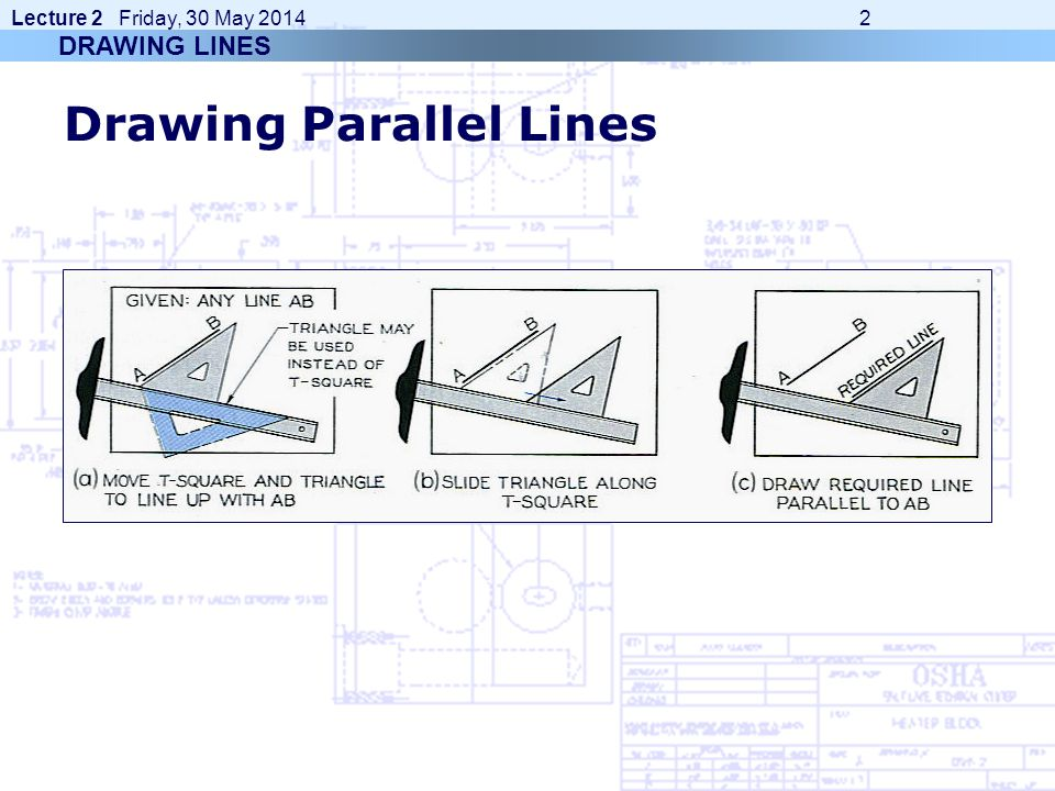 Lecture 2 Friday, 30 May 2014 2 Drawing Parallel Lines DRAWING LINES