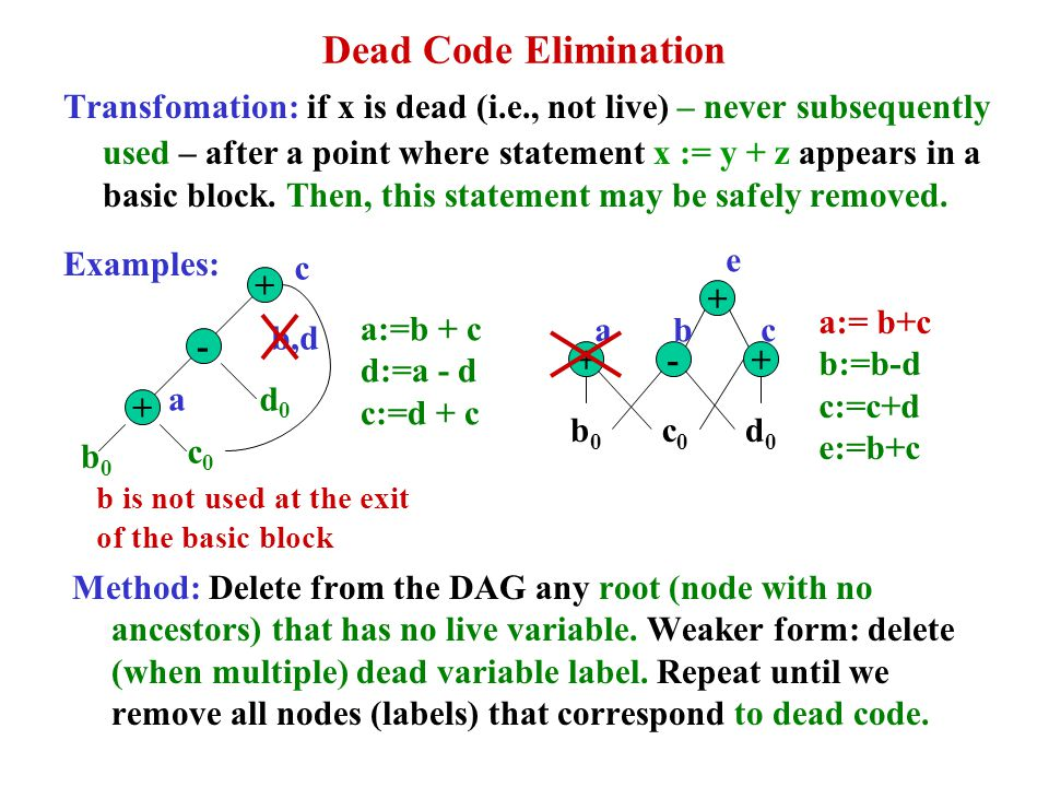 Dead Code Elimination Transfomation: if x is dead (i.e., not live) – never subsequently used – after a point where statement x := y + z appears in a b