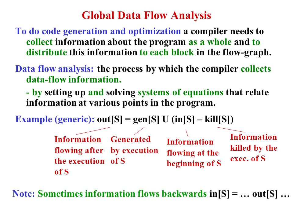 Global Data Flow Analysis To do code generation and optimization a compiler needs to collect information about the program as a whole and to distribut