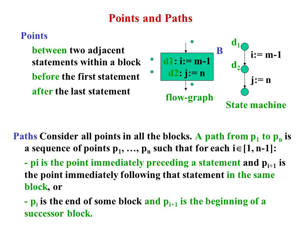 Points and Paths Points between two adjacent statements within a block before the first statement after the last statement Paths Consider all points i