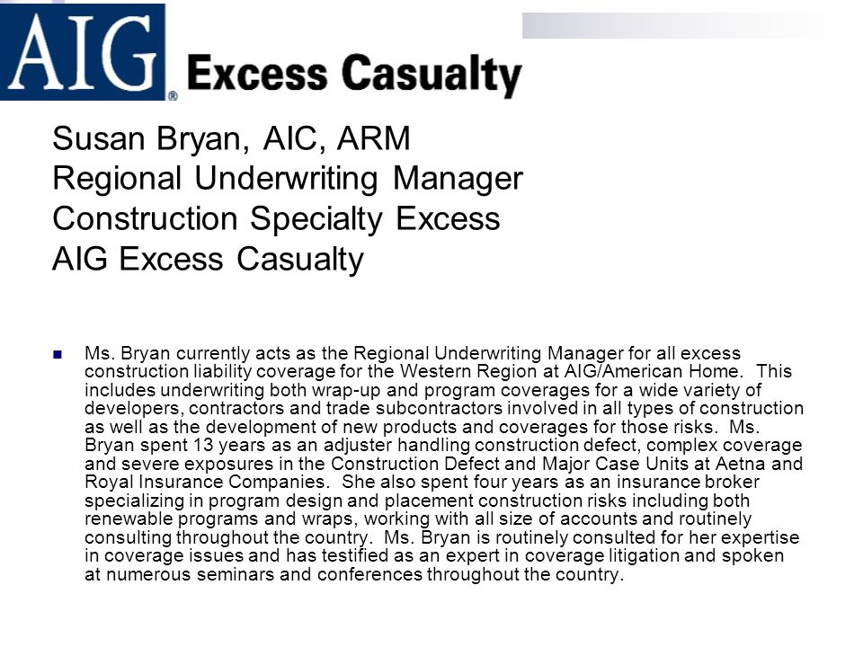 Susan Bryan, AIC, ARM Regional Underwriting Manager Construction Specialty Excess AIG Excess Casualty Ms. Bryan currently acts as the Regional Underwr
