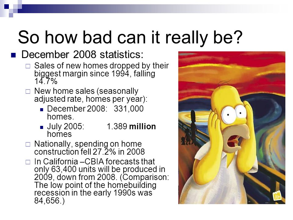 So how bad can it really be? December 2008 statistics: Sales of new homes dropped by their biggest margin since 1994, falling 14.7% New home sales (se
