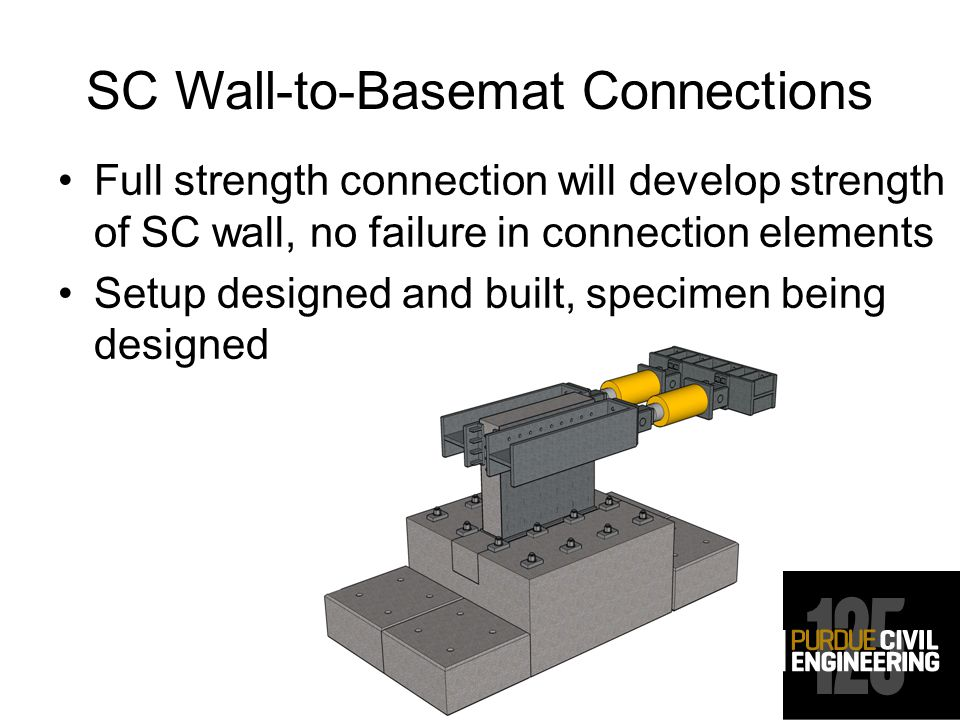 SC Wall-to-Basemat Connections Full strength connection will develop strength of SC wall, no failure in connection elements Setup designed and built, specimen being designed
