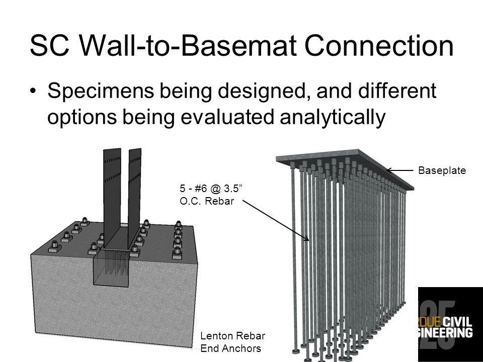 SC Wall-to-Basemat Connection Specimens being designed, and different options being evaluated analytically 5 - #6 @ 3.5 O.C.