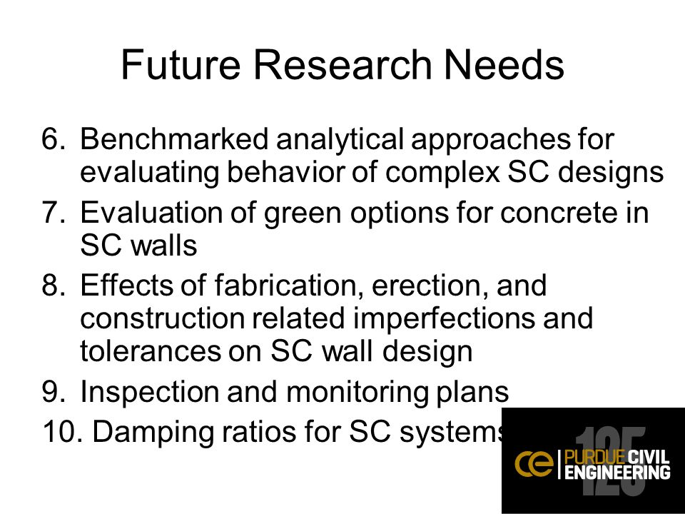 Future Research Needs 6.Benchmarked analytical approaches for evaluating behavior of complex SC designs 7.Evaluation of green options for concrete in SC walls 8.Effects of fabrication, erection, and construction related imperfections and tolerances on SC wall design 9.Inspection and monitoring plans 10.