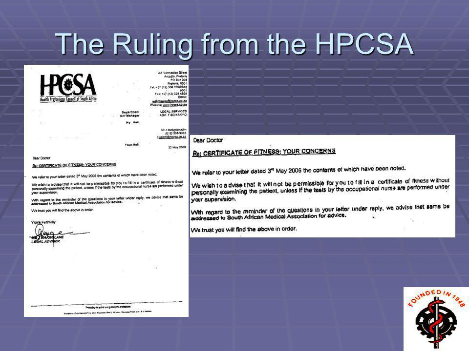The Ruling from the HPCSA
