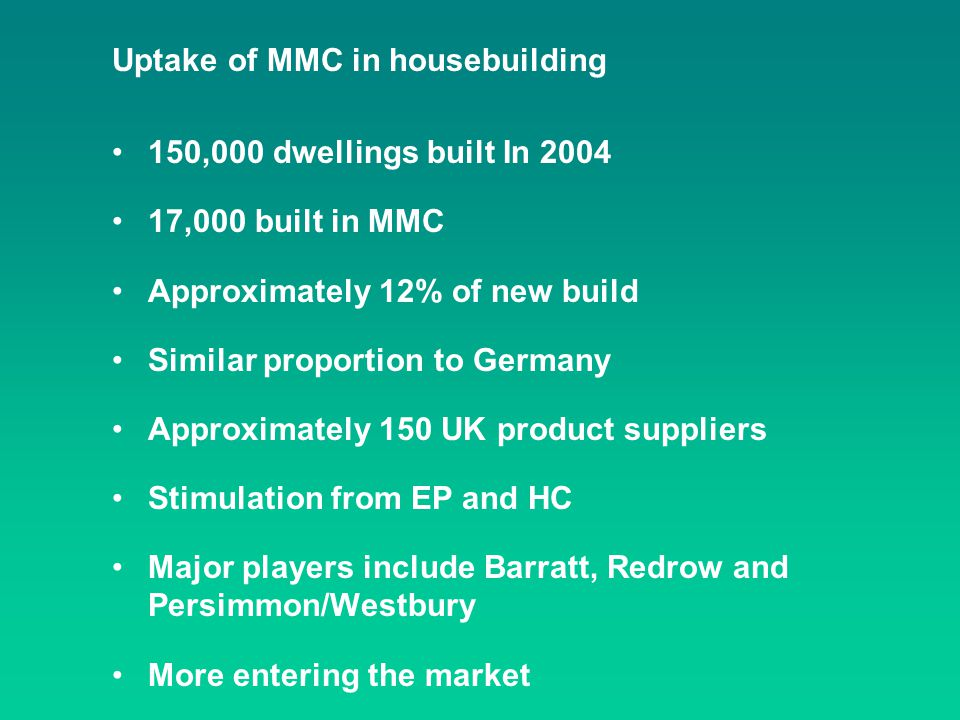 Uptake of MMC in housebuilding 150,000 dwellings built In 2004 17,000 built in MMC Approximately 12% of new build Similar proportion to Germany Approx