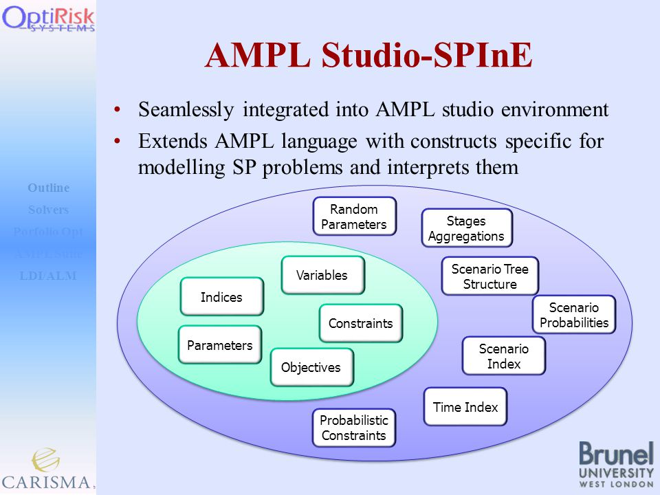 Outline Solvers AMPL Suite LDI/ALM Porfolio Opt AMPL Studio-SPInE Seamlessly integrated into AMPL studio environment Extends AMPL language with constructs specific for modelling SP problems and interprets them Time Index Scenario Tree Structure Scenario Probabilities Scenario Index Probabilistic Constraints Stages Aggregations Random Parameters Parameters Indices Variables Constraints Objectives