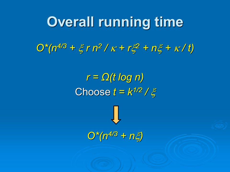 Overall running time O*(n 4/3 + r n 2 / + r 2 + n + / t) r = Ω(t log n) Choose t = k 1/2 / Choose t = k 1/2 / O*(n 4/3 + n )