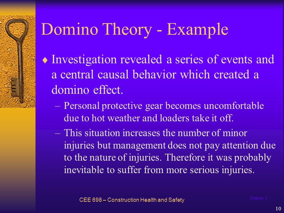 Chapter 3 10 Domino Theory - Example Investigation revealed a series of events and a central causal behavior which created a domino effect. –Personal