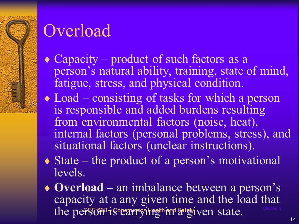 Chapter 3 14 Overload CEE 698 – Construction Health and Safety Capacity – product of such factors as a persons natural ability, training, state of min