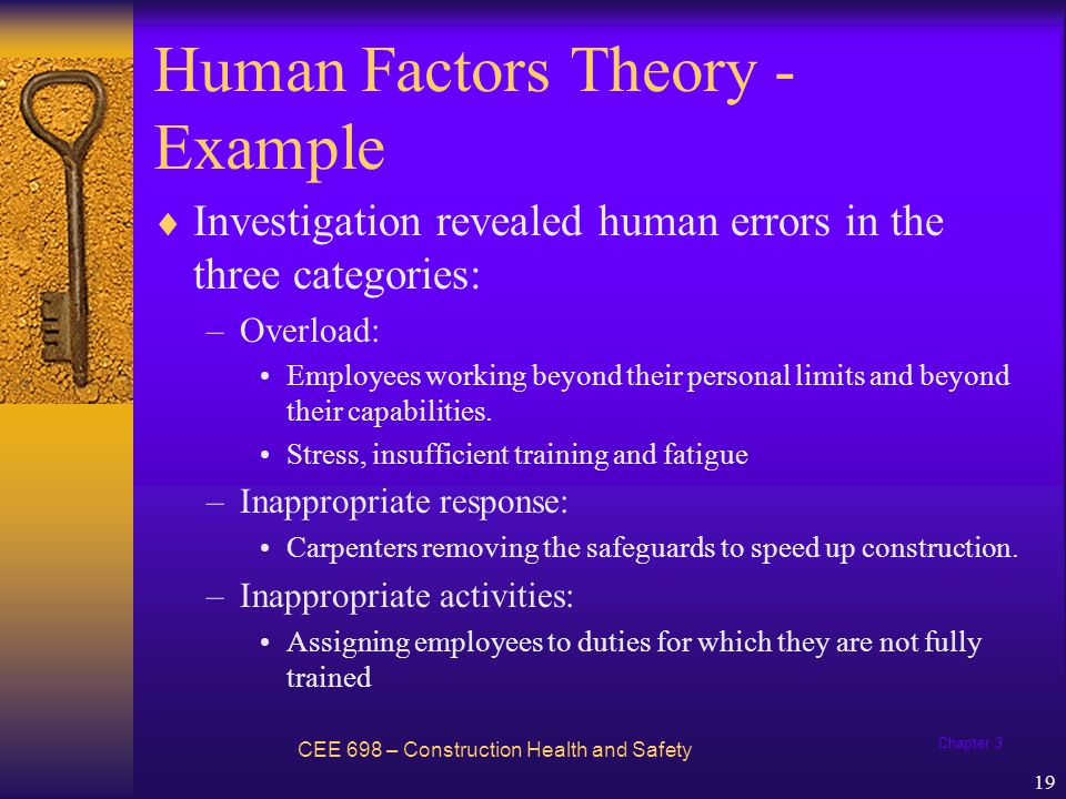 Chapter 3 19 Human Factors Theory - Example Investigation revealed human errors in the three categories: –Overload: Employees working beyond their per