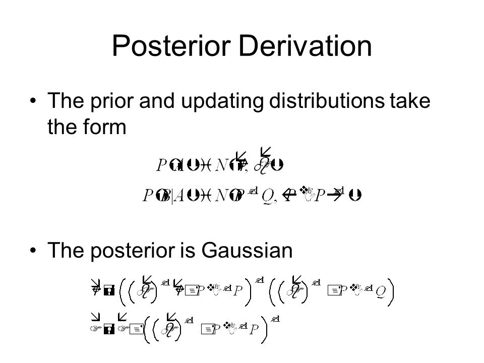 Posterior Derivation The prior and updating distributions take the form The posterior is Gaussian