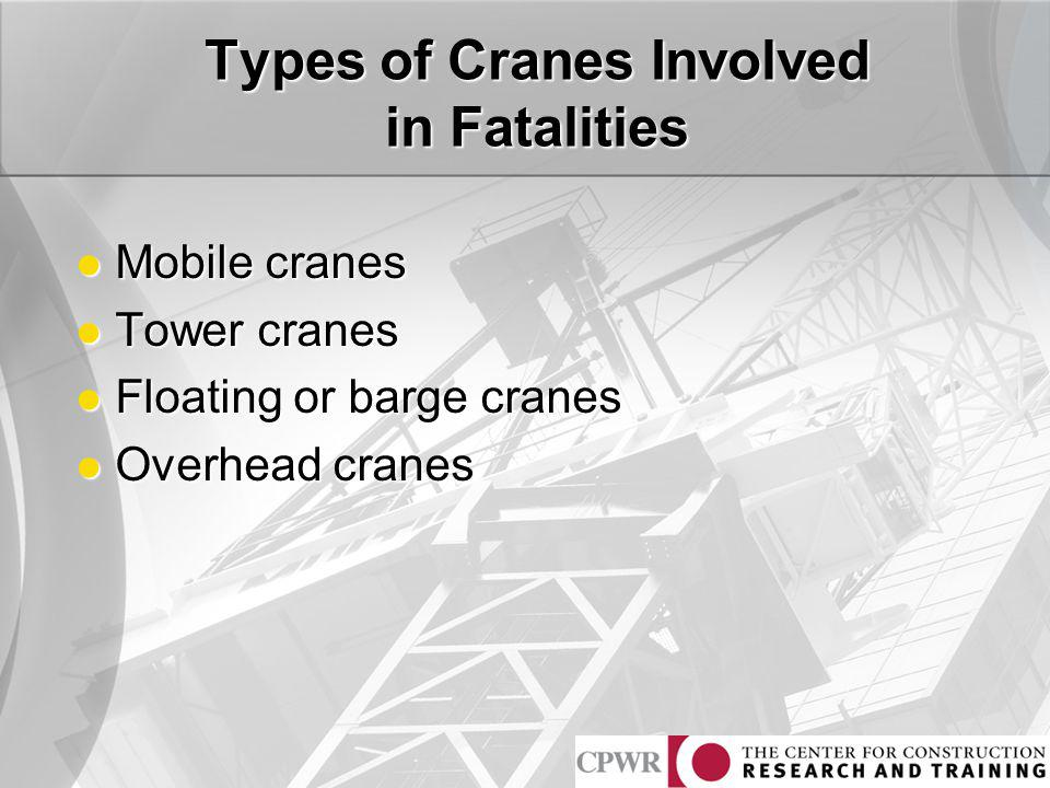 Types of Cranes Involved in Fatalities Mobile cranes Mobile cranes Tower cranes Tower cranes Floating or barge cranes Floating or barge cranes Overhea
