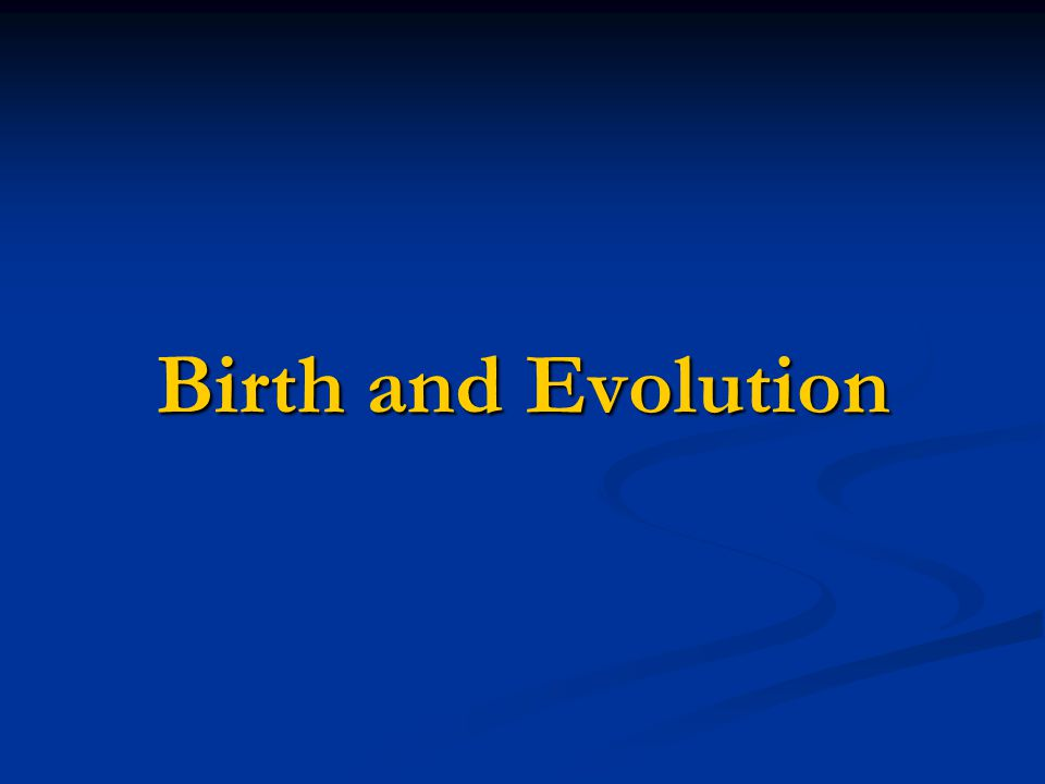 Birth and Evolution Birth and Evolution
