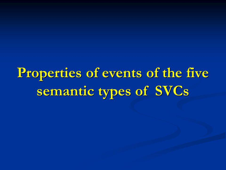 Properties of events of the five semantic types of SVCs