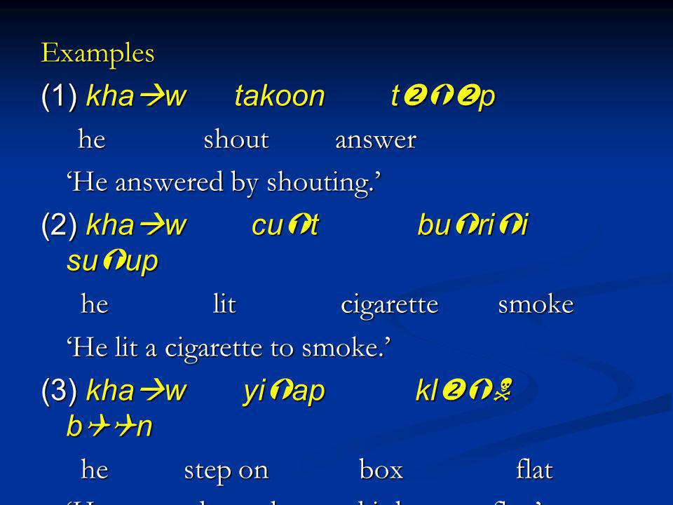 Examples (1) kha w takoon t p he shout answer he shout answer He answered by shouting. (2) kha w cu t bu ri i su up he lit cigarette smoke he lit ciga
