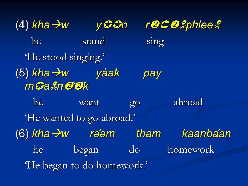 (4) kha w y n r phlee (4) kha w y n r phlee he stand sing he stand sing He stood singing. (5) kha w yàak pay m a n ̂ k he want go abroad he want go a