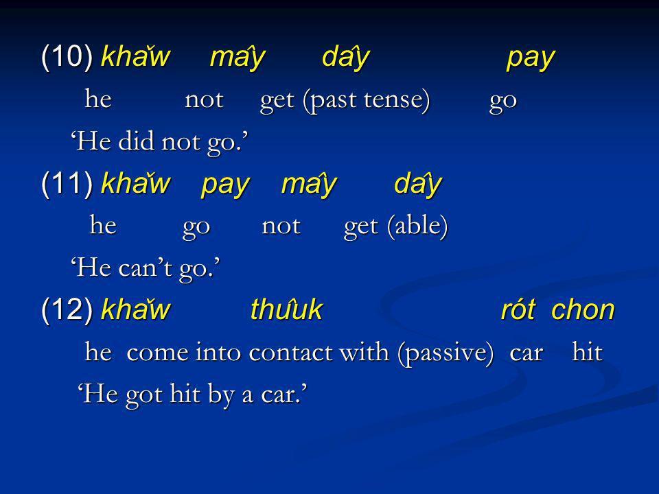 (10) kha ̌ w ma ̂ y da ̂ y pay he not get (past tense) go he not get (past tense) go He did not go. He did not go. (11) kha ̌ w pay ma ̂ y da ̂ y he g
