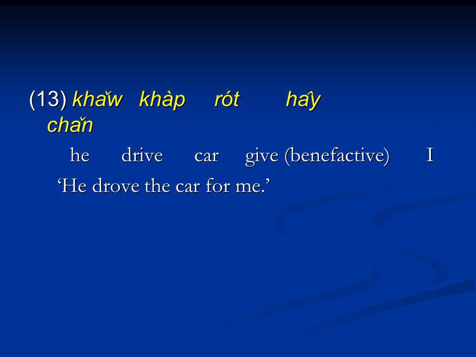 (13) kha ̌ w khàp rót ha ̂ y cha ̌ n he drive car give (benefactive) I he drive car give (benefactive) I He drove the car for me.