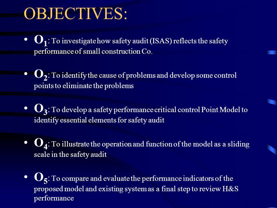 AIM: To evaluate the effectiveness of the safety audit as a final step to review performance in Health & Safety Management cycle in construction indus