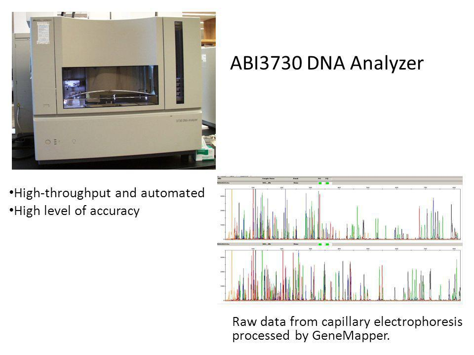 Raw data from capillary electrophoresis processed by GeneMapper. High-throughput and automated High level of accuracy ABI3730 DNA Analyzer