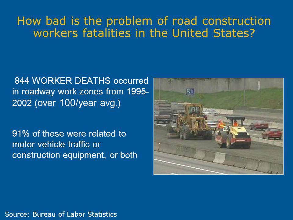 844 WORKER DEATHS occurred in roadway work zones from 1995- 2002 ( over 100/year avg.) 91% of these were related to motor vehicle traffic or construct