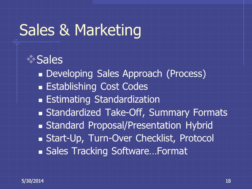 5/30/201418 Sales & Marketing Sales Developing Sales Approach (Process) Establishing Cost Codes Estimating Standardization Standardized Take-Off, Summ