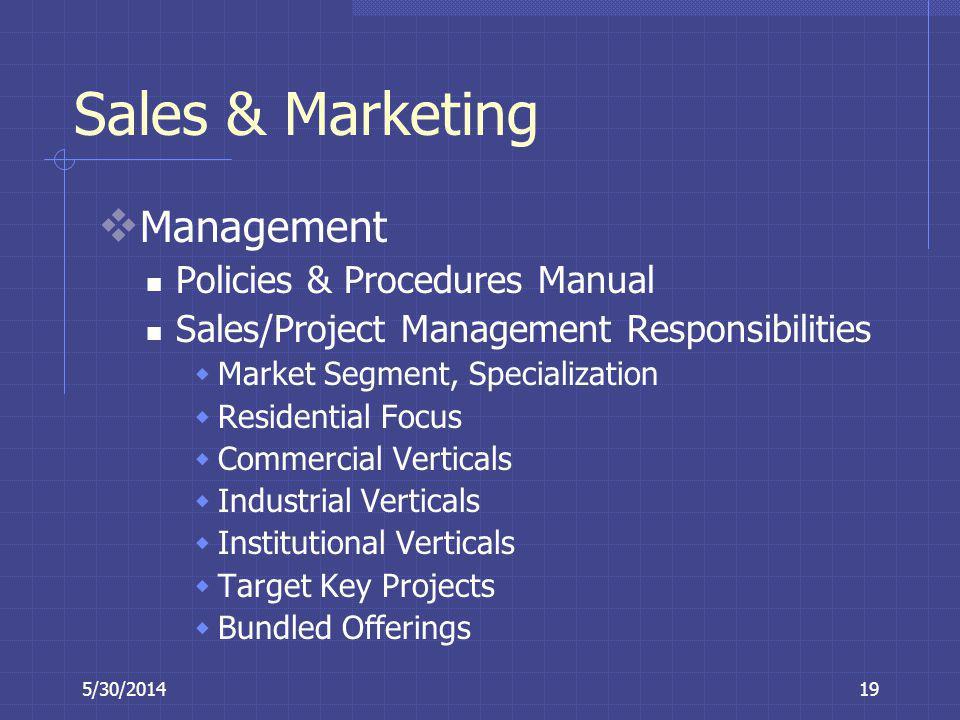 5/30/201419 Sales & Marketing Management Policies & Procedures Manual Sales/Project Management Responsibilities Market Segment, Specialization Residen