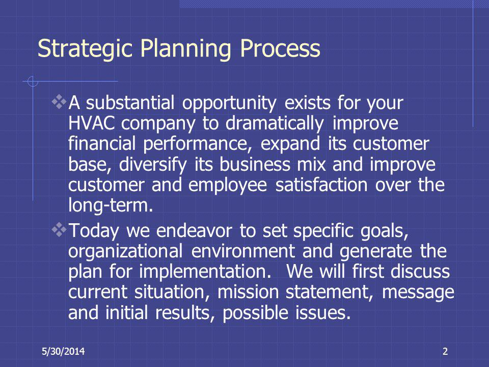 5/30/20142 Strategic Planning Process A substantial opportunity exists for your HVAC company to dramatically improve financial performance, expand its