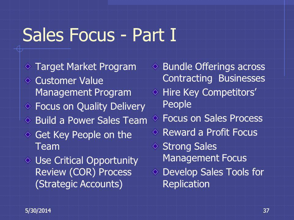 5/30/201437 Sales Focus - Part I Target Market Program Customer Value Management Program Focus on Quality Delivery Build a Power Sales Team Get Key Pe