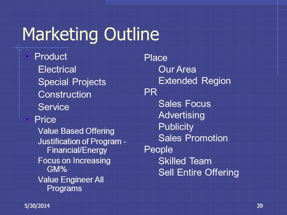 5/30/201439 Marketing Outline Product Electrical Special Projects Construction Service Price Value Based Offering Justification of Program - Financial