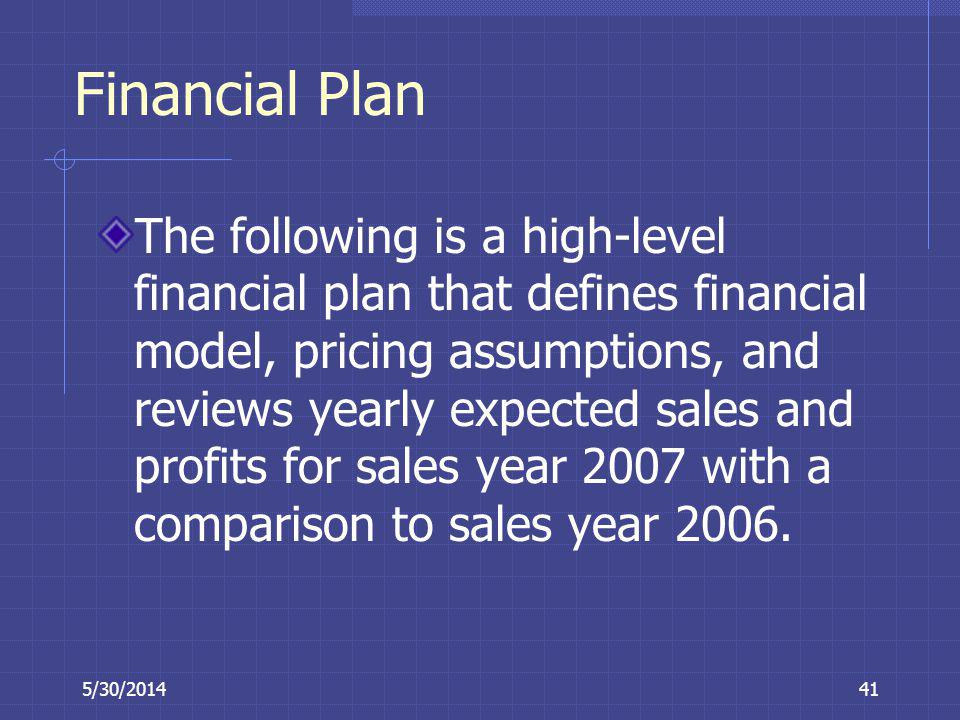 5/30/201441 Financial Plan The following is a high-level financial plan that defines financial model, pricing assumptions, and reviews yearly expected