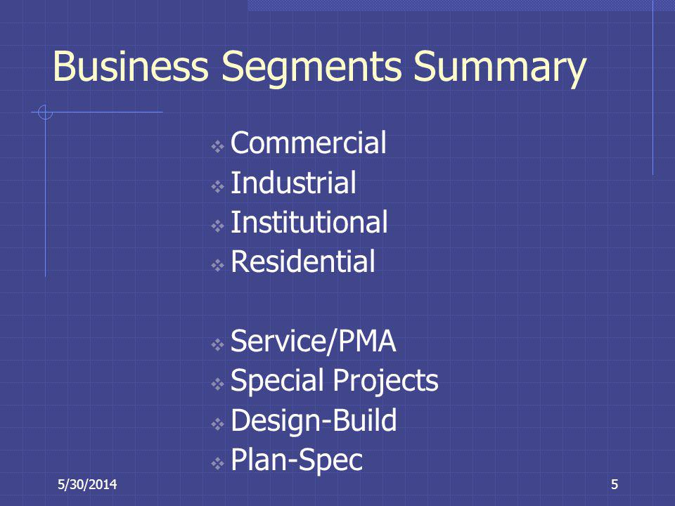5/30/20145 Business Segments Summary Commercial Industrial Institutional Residential Service/PMA Special Projects Design-Build Plan-Spec