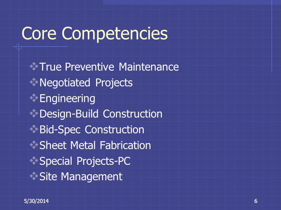 5/30/20146 Core Competencies True Preventive Maintenance Negotiated Projects Engineering Design-Build Construction Bid-Spec Construction Sheet Metal F
