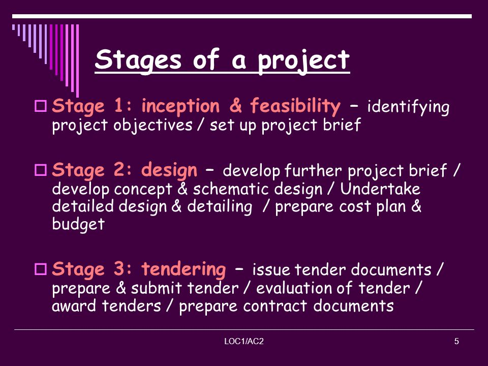LOC1/AC25 Stages of a project Stage 1: inception & feasibility – identifying project objectives / set up project brief Stage 2: design – develop furth