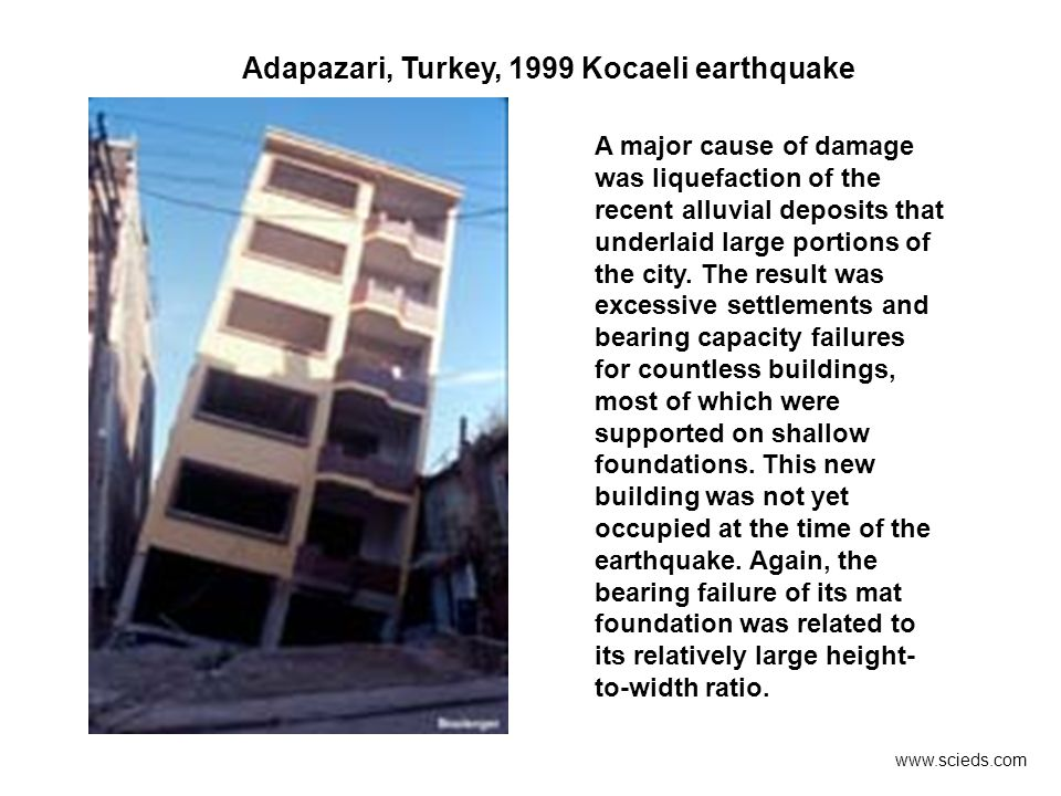 A major cause of damage was liquefaction of the recent alluvial deposits that underlaid large portions of the city.