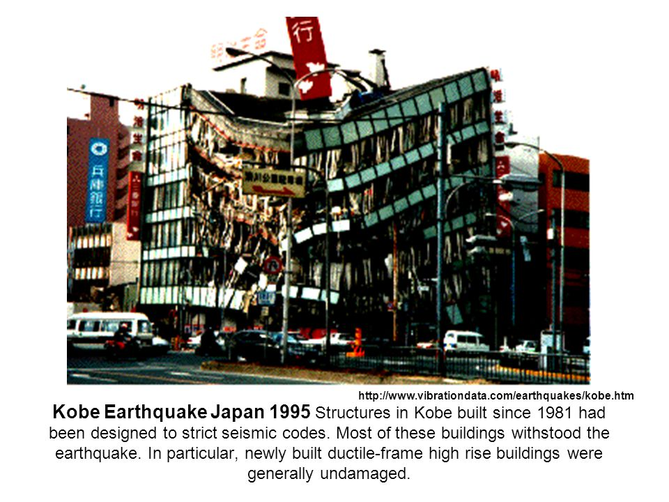 Kobe Earthquake Japan 1995 Structures in Kobe built since 1981 had been designed to strict seismic codes. Most of these buildings withstood the earthq