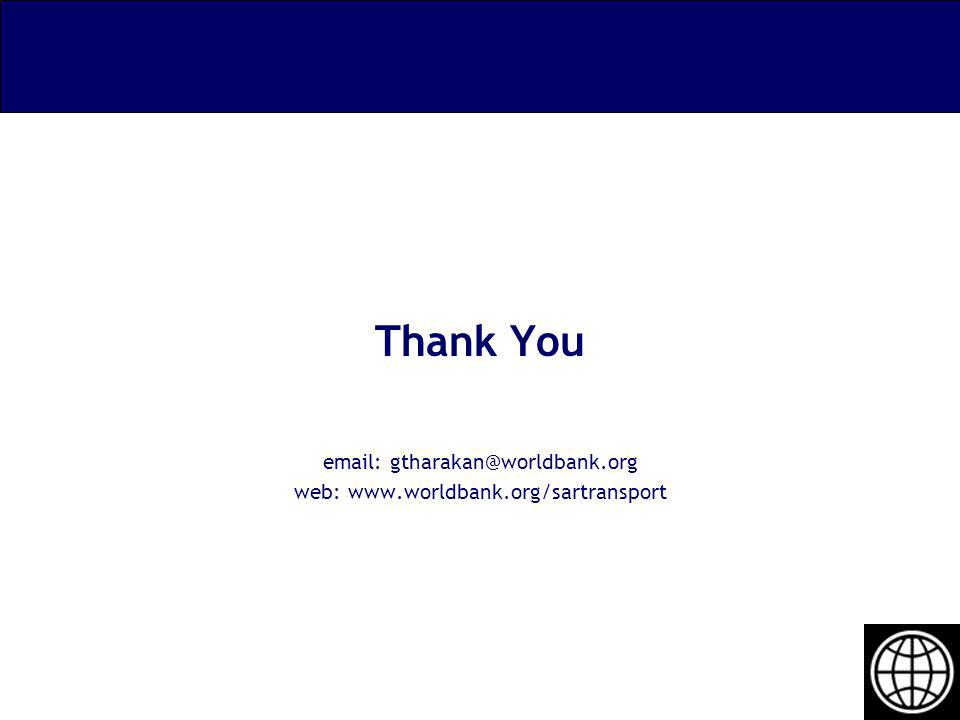 Thank You email: gtharakan@worldbank.org web: www.worldbank.org/sartransport