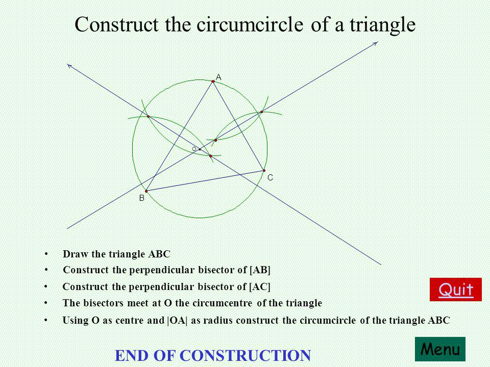Construct the perpendicular bisector of a line segment Draw the line segment AB Menu Quit END OF CONSTRUCTION Using A as centre and a radius greater than half |AB| draw an arc.