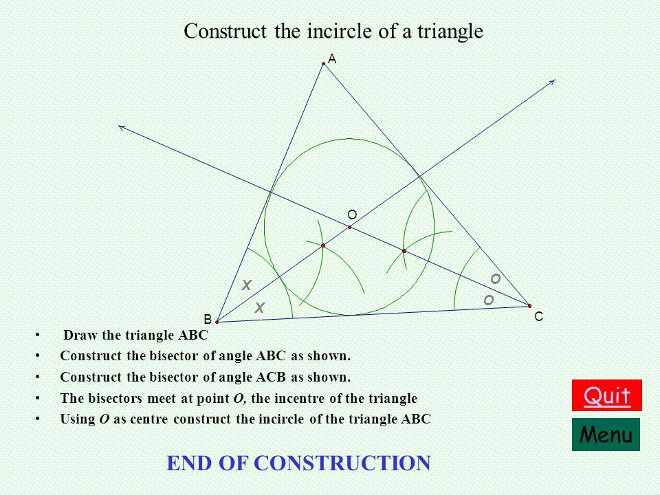 Construct the circumcircle of a triangle Draw the triangle ABC O A B C Menu Quit END OF CONSTRUCTION Construct the perpendicular bisector of [AB] Construct the perpendicular bisector of [AC] The bisectors meet at O the circumcentre of the triangle Using O as centre and |OA| as radius construct the circumcircle of the triangle ABC