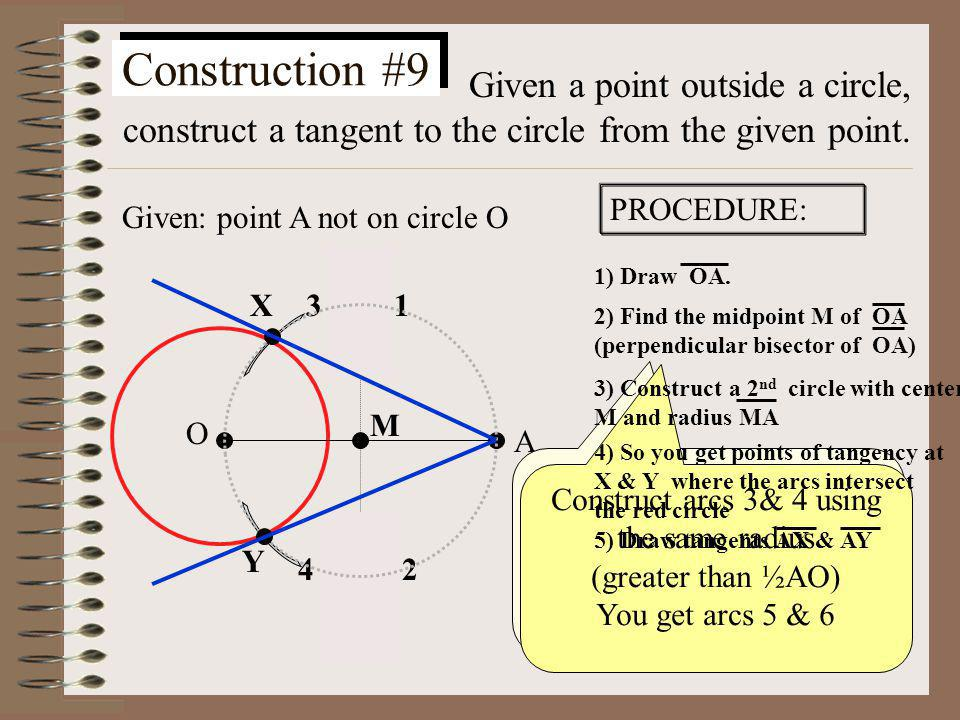 Construction #8 Given a point on a circle, construct the tangent to the circle at the given point. 1) Draw Ray OA 2) Construct a perpendicular through
