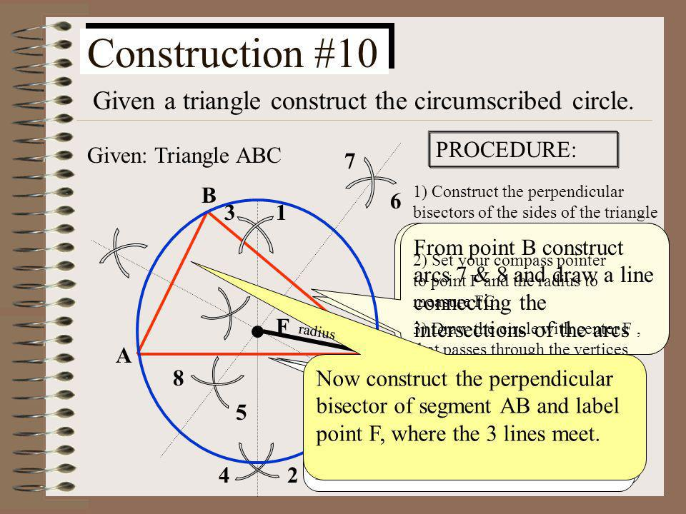 Construction #9 Given a point outside a circle, construct a tangent to the circle from the given point. O A Given: point A not on circle O PROCEDURE: