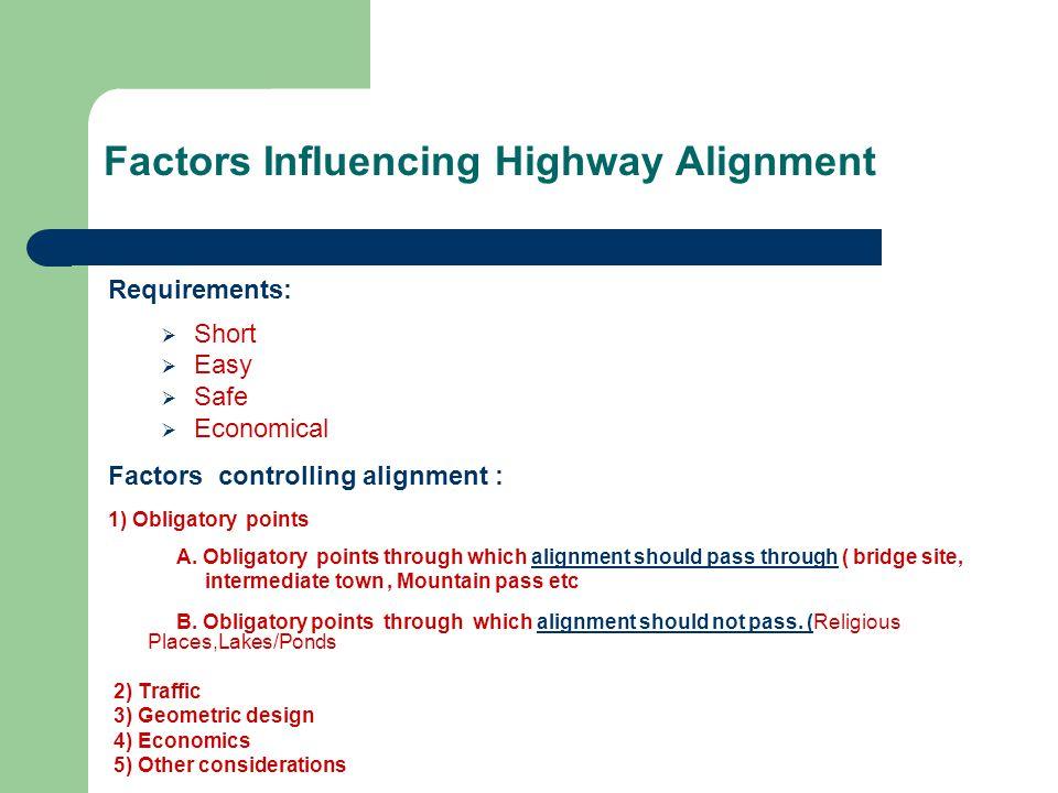 Factors Influencing Highway Alignment Requirements: Short Easy Safe Economical Factors controlling alignment : 1) Obligatory points A. Obligatory poin