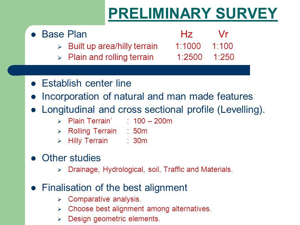 PRELIMINARY SURVEY Base Plan Hz Vr Built up area/hilly terrain1:1000 1:100 Plain and rolling terrain 1:2500 1:250 Establish center line Incorporation