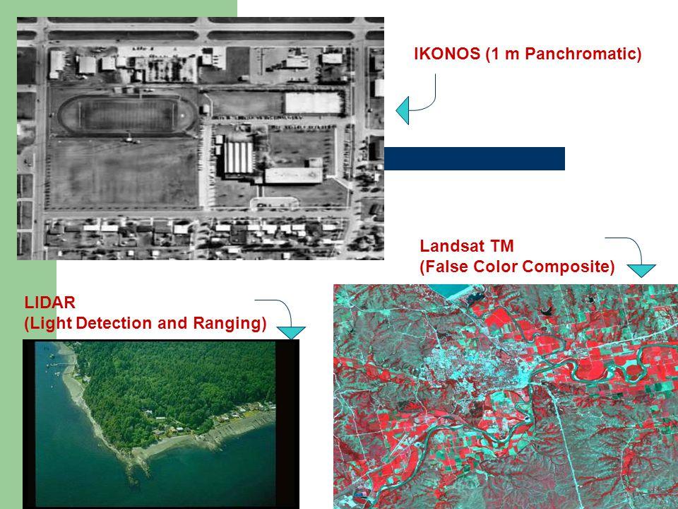 LIDAR (Light Detection and Ranging) IKONOS (1 m Panchromatic) Landsat TM (False Color Composite)