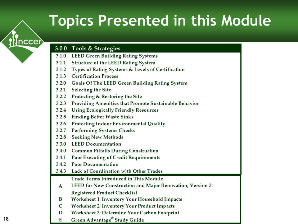 Topics Presented in this Module 18