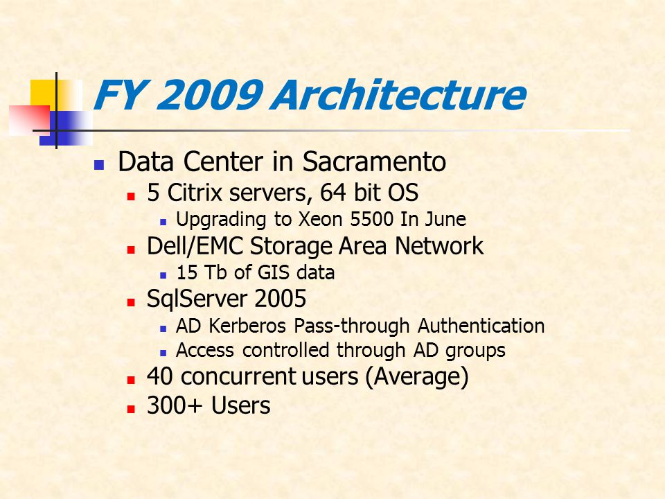 FY 2009 Architecture Data Center in Sacramento 5 Citrix servers, 64 bit OS Upgrading to Xeon 5500 In June Dell/EMC Storage Area Network 15 Tb of GIS data SqlServer 2005 AD Kerberos Pass-through Authentication Access controlled through AD groups 40 concurrent users (Average) 300+ Users